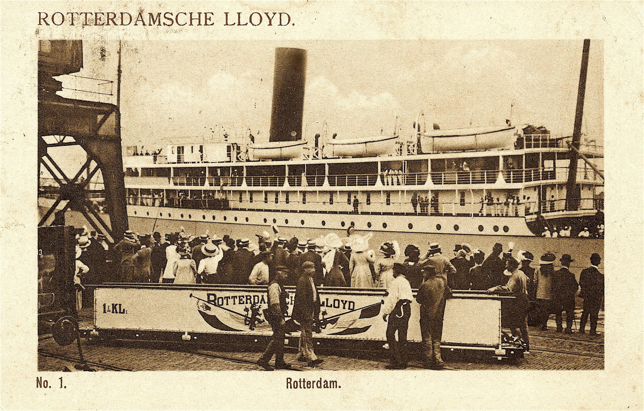 Het vertrek van de S.S. Sindoro van de Rotterdamsche Lloyd